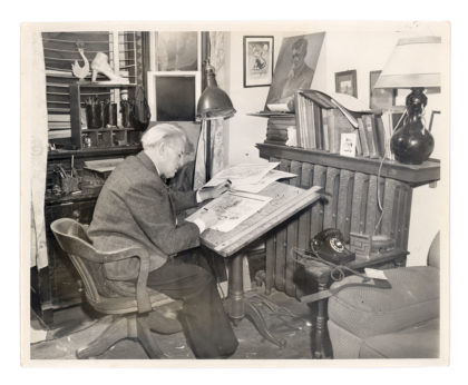 Photo of Lou Skuce in home studio